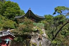 Ναός Mangwolsa, εθνικό πάρκο Dobongsan, Σεούλ, Κορέα στοκ φωτογραφίες με δικαίωμα ελεύθερης χρήσης
