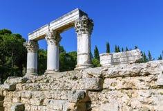 Ναός Octavia στο αρχαίο corinth Στοκ Εικόνες