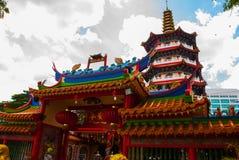 Ναός Pek Kong Tua ο όμορφος κινεζικός ναός της πόλης Sibu, Sarawak, Μαλαισία, Μπόρνεο στοκ εικόνα