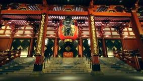 Ναός Sensoji τη νύχτα απόθεμα βίντεο