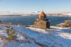 Ναός Sevanavank σύνθετος στη λίμνη Sevan στοκ φωτογραφία με δικαίωμα ελεύθερης χρήσης