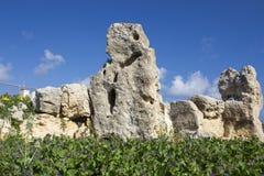 Ναός TA Skorba | πρόσωπο στο megalithic estructure στοκ φωτογραφία