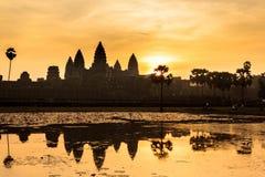 Ναός Wat Angkor κατά τη διάρκεια της ανατολής, Καμπότζη Στοκ Εικόνα