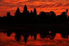 Ναός Wat Angkor στην ανατολή, Καμπότζη Στοκ Εικόνες