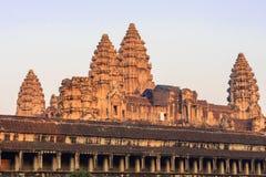 Ναός Wat Angkor το πρωί Το παγκόσμιο μεγαλύτερο θρησκευτικό μνημείο, ναός Prasat Angkor Nokor Wat σύνθετος, Siem συγκεντρώνει Στοκ Εικόνες