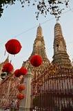Ναός Wat arun και κόκκινα φανάρια Στοκ φωτογραφίες με δικαίωμα ελεύθερης χρήσης