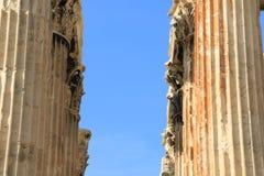 Ναός Zeus - της Αθήνας - λεπτομέρειες των στηλών Στοκ Εικόνες