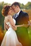 Να λάμψει αγάπη - η νύφη και ο νεόνυμφος αγκαλιάζουν στο πάρκο Στοκ Εικόνες