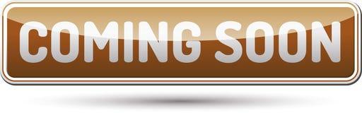 Να έρθει σύντομα κουμπί - στιλπνό κουμπί με τη σκιά Στοκ φωτογραφία με δικαίωμα ελεύθερης χρήσης