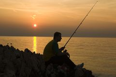 να αλιεύσει αργά Στοκ Φωτογραφίες