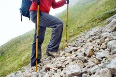 Να ανεβεί οδοιπόρων σε ένα ίχνος βουνών Στοκ φωτογραφίες με δικαίωμα ελεύθερης χρήσης