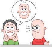 Να αστειευτεί φίλων έχει το επίπεδο φαλακρό κεφάλι Στοκ Εικόνα