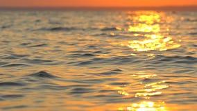 Να αστράψει και λαμπυρίζοντας χρυσός ωκεανός, επιφάνεια θάλασσας στο ηλιοβασίλεμα πέρα από την τροπική παραλία, ανατολή ή λυκόφως απόθεμα βίντεο