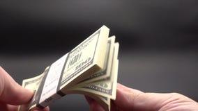 Να βγάλει φύλλα μέσω ενός σωρού των τραπεζογραμματίων απόθεμα βίντεο