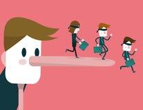 Να βρεθεί ο επιχειρηματίας με τη μακριά μύτη κάνει τους επιχειρηματίες πέφτοντας κάτω Στοκ φωτογραφίες με δικαίωμα ελεύθερης χρήσης