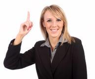 να δείξει επάνω τη γυναίκα Στοκ εικόνα με δικαίωμα ελεύθερης χρήσης
