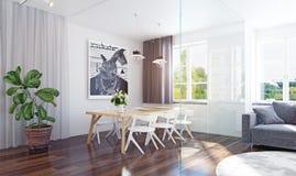 να δειπνήσει εσωτερικό σύγχρονο δωμάτιο στοκ φωτογραφία με δικαίωμα ελεύθερης χρήσης