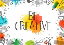 Να είστε δημιουργικός Διανυσματικό πλαίσιο τέχνης διανυσματική απεικόνιση