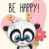 Να είστε ευτυχής ευχετήρια κάρτα με το panda απεικόνιση αποθεμάτων