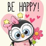 Να είστε ευτυχής ευχετήρια κάρτα Penguin με τις καρδιές απεικόνιση αποθεμάτων
