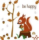 Να είστε ευτυχής λίγος σκίουρος - διανυσματική απεικόνιση, eps διανυσματική απεικόνιση