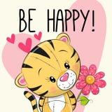 Να είστε ευτυχής τίγρη ευχετήριων καρτών με τις καρδιές διανυσματική απεικόνιση
