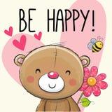 Να είστε ευτυχής ότι η ευχετήρια κάρτα Teddy αντέχει ελεύθερη απεικόνιση δικαιώματος