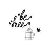 Να είστε ελεύθερος Εμπνευσμένο απόσπασμα για την ελευθερία διανυσματική απεικόνιση