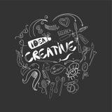 Να είστε δημιουργικός στο ύφος Συρμένα χέρι στοιχεία Doodle Λογότυπο για την έννοια ύφους Στοκ Εικόνες