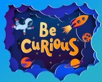 Να είστε περίεργος Ευχετήρια κάρτα ύφους κινούμενων σχεδίων με τους αστροναύτες, πλανήτες στοκ εικόνες