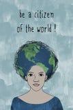 Να είστε πολίτης του κόσμου! - δώστε το συρμένο πορτρέτο του κοριτσιού Στοκ φωτογραφία με δικαίωμα ελεύθερης χρήσης