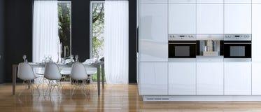 Να δειπνήσει κουζινών σύγχρονο ύφος Στοκ Εικόνες