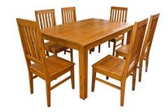 Να δειπνήσει πίνακας και καρέκλες που απομονώνονται Στοκ Φωτογραφίες