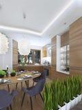 Να δειπνήσει σχέδιο κουζινών σε ένα σύγχρονο ύφος με έναν να δειπνήσει πίνακα και Στοκ Εικόνα