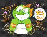 Να ενεργήσει η ευτυχία και λέει ναι περισσότερους χρόνους των ταϊλανδικών κινούμενων σχεδίων απεικόνιση αποθεμάτων