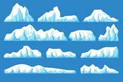 Να επιπλεύσει κινούμενων σχεδίων διανυσματικό σύνολο παγόβουνων Ο ωκεάνιος πάγος λικνίζει το τοπίο για την έννοια κλίματος και πρ διανυσματική απεικόνιση