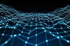 Να επιπλεύσει άσπρη και μπλε τρισδιάστατη απόδοση δικτύων σημείων Στοκ Φωτογραφία