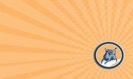 Να επιτεθεί του Bull επαγγελματικών καρτών οργιμένος κύκλος χρέωσης αναδρομικός Στοκ Εικόνες
