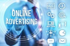 να διαφημίσει on-line Στοκ Εικόνες