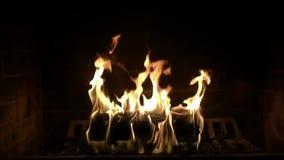 Να ικανοποιήσει τον πανέμορφο στενό επάνω σε αργή κίνηση πυροβολισμό του ξύλινου καψίματος φλογών πυρκαγιάς στην καλή άνετη εστία απόθεμα βίντεο