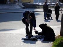 να ικετεύσει τη ηλικιωμένη γυναίκα Στοκ Εικόνες