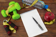 Να κάνει δίαιτα Workout και ικανότητας διαστημικό ημερολόγιο αντιγράφων υγιής τρόπος ζωής έννοιας Στοκ φωτογραφία με δικαίωμα ελεύθερης χρήσης