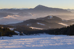 Να κάνει σκι θέρετρο Kubinska Hola, Σλοβακία Τοπ όψη Στοκ Εικόνες