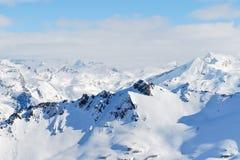 Να κάνει σκι διαδρομές στις βουνοπλαγιές στην περιοχή Paradiski Στοκ εικόνα με δικαίωμα ελεύθερης χρήσης
