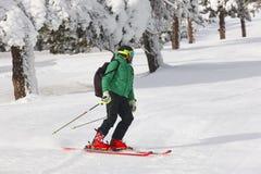 Να κάνει σκι σε ένα όμορφο δασικό τοπίο χιονιού ο αθλητισμός χιονιού σκι ακολουθεί το χειμώνα Στοκ Εικόνες
