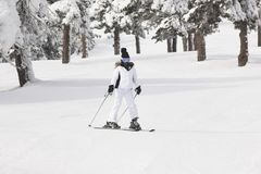 Να κάνει σκι σε ένα όμορφο δασικό τοπίο χιονιού ο αθλητισμός χιονιού σκι ακολουθεί το χειμώνα Στοκ Εικόνα