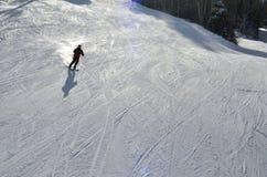 Να κάνει σκι, σκιέρ, Freeride στις καλλωπισμένες κλίσεις Στοκ Εικόνες