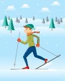 Να κάνει σκι στο χειμερινό τοπίο Στοκ Φωτογραφίες