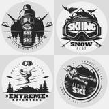 Να κάνει σκι σύνθεση σχεδίου εμβλημάτων Στοκ Εικόνα