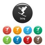 Να κάνει σκι τα εικονίδια καθορισμένα το διάνυσμα χρώματος Στοκ εικόνες με δικαίωμα ελεύθερης χρήσης